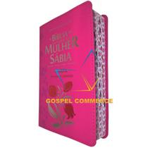 Bíblia de Estudo da Mulher Sábia Letra Grande e Harpa - Tulipa Pink - CPP