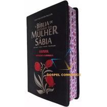 Bíblia De Estudo Da Mulher Sábia Rc Com Harpa Tulipa Preta - Cpp