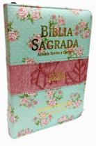 Bíblia de letra jumbo com harpa e capa com zíper -