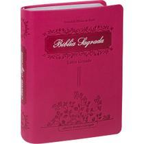 Bíblia Evangélica Feminina Letra Grande Com Índice Formato Pequeno Capa Flexível PU Luxo Pink RC - Editora Sbb