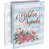 Bíblia Jornada Anote Com Espiral Capa Aquarela Azul Flores Linguagem Fácil - Editora Sbb
