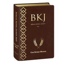 Bíblia king james 1611 com estudo holman  capa luxo sintética marrom  letra média  bv books -