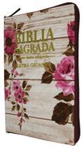 Bíblia Letra Gigante - Capa Com Zíper Romantic Vermelha - Mundial Records