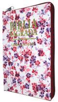 Bíblia Letra Gigante - Capa Com Zíper Romantic Vinho - Mundial Records