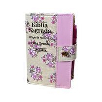 Biblia Letra Grande C/harpa E Botão - Floral E Rosa 16x12cm - Rei Das Biblias