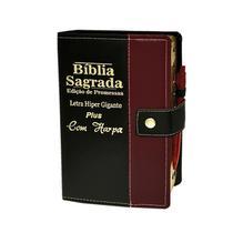 Bíblia Letra Hipergigante Botão Preta C/vinho  C/ Harpa - 14x21cm - Rei Das Biblias