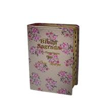 Bíblia Letra Hipergigante Luxo Floral Bege - C/ Harpa -14x21 cm - Kings Cross