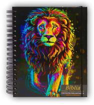 Bíblia Sagrada Anote e Harpa  Leão Pintura Inteiro - Espiral - CPP