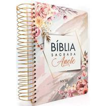 Bíblia Sagrada Anote Flores Aquarela - NVI - Art Gospel -