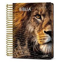 Bíblia Sagrada Anote Leão Coroa Espiral Nvi - Art Gospel