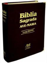 Biblia Sagrada Ave Maria Letra Grande Católica Capa Luxo Preta -