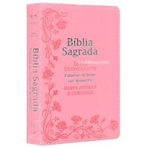 Bíblia Sagrada com Harpa e Letra Ultragigante Flores Rosa - Casa Publicadora Paulista