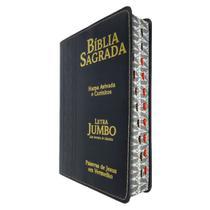 Bíblia Sagrada Com Letra Jumbo e Harpa Preta Arabesco - CPP -