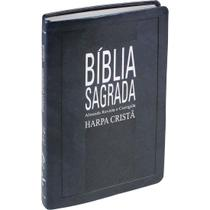 Bíblia Sagrada Evangélica Slim Com Harpa Cristã Capa Luxo Síntética Azul Nobre - Editora Sbb / Editora Cpad
