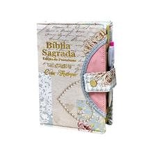 Bíblia Sagrada Gigante - Botão - Coração Azul - RC- C/ Harpa - Rei Das Biblias