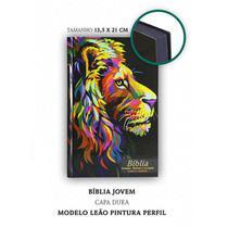 Bíblia Sagrada Jovem Leão Pintura - Capa Dura - C/ Harpa -