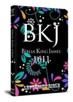 Bíblia Sagrada King James 1611 Lettering Bible Capa Jovem Flores - Editora Bvbooks