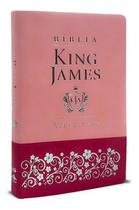 Biblia Sagrada King James Atualizada Slim Luxo Rosa Art Gospel -
