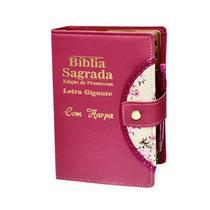 Bíblia Sagrada Letra Gigante - Botão e Caneta - Pink -  Revista e Corrigida - C/ Harpa - Rei Das Biblias