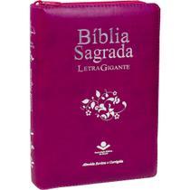 Bíblia Sagrada Letra Gigante Com Índice Ziper Vinho Luxo Palavras Jesus Em Vermelho ARC - Editora Sbb