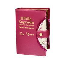 Bíblia Sagrada Letra Gigante - Pink - Botão e Caneta Revista e Corrigida - 14x21cm - Rei Das Biblias