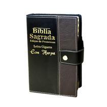 Bíblia Sagrada Letra Gigante - Preto C/ Marrom - Botão e Caneta Revista e Corrigida - Com Harpa- 14x21 cm - Rei Das Biblias