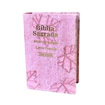 Bíblia Sagrada Letra Grande - Luxo - Folha Rosa -C/ Harpa - Rei Das Biblias