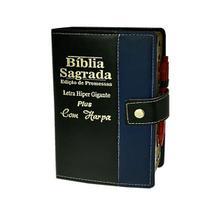 Bíblia Sagrada Letra HIpergigante Botão Preta/Azul - 14x21cm - Rei Das Biblias