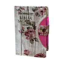 Bíblia Sagrada Letra HIpergigante - Romantic - Botão e Caneta Revista e Corrigida C/ Harpa - Rei Das Biblias