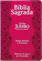 Bíblia Sagrada Letra Jumbo - ARC - Com Harpa Cristã - Capa Luxo PU Flores  Pink - CPP