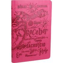 Bíblia Sagrada Lettering Slim - Pink - Linguagem Fácil - Editora Sbb
