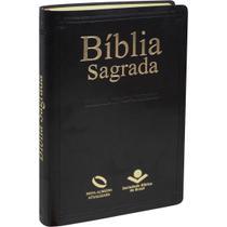 Bíblia Sagrada - Nova Almeida Atualizada - Capa Couro Preta - Editora Sbb