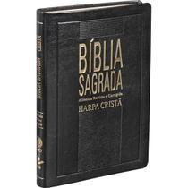 Bíblia Sagrada Slim Com Harpa Cristã  Capa Luxo Couro Síntético Preto - Editora Sbb / Editora Cpad