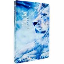 Bíblia Sagrada Slim Leão Azul - NVI - Art Gospel