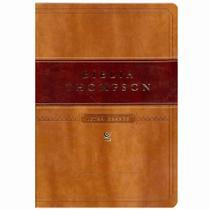 Bíblia Thompson | AEC | Letra Grande | Capa Luxo Marrom Claro e Escuro - Editora vida -