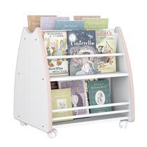 Biblioteca Porta Livros Infantil Abraço De Mãe 4 Rodízios - Branco/rosa - Outlet Das Fábricas