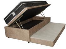 Bicama Baú Solteiro 3 em 1 C/ Cama Auxiliar em Espuma + Colchão Molas Confort  Black - Master Box Design