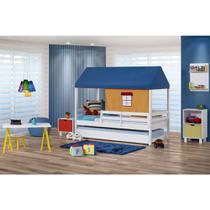 Bicama Infantil Prime com Grade De Proteção e Telhado Azul/Amarelo - Casatema -