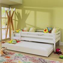 Bicama infantil prime com grade de proteção - madeira maciça - laca branco - Casatema