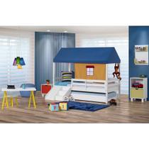 Bicama Infantil Prime com Grade De Proteção, Telhado Azul e Kit escada/escorregador - Casatema -