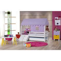 Bicama Infantil Prime com Grade De Proteção, Telhado Lilás e Kit escada/escorregador - Casatema -