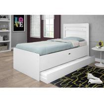 Bicama solteiro bau larissa com cama auxiliar Framar móveis branco - Framar camas