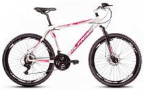 Bicicleta Alfameq Stroll Aro 26 Freio À Disco 24 Marchas Branca Com Rosa -