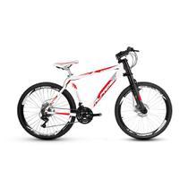 Bicicleta Alfameq Stroll Aro 26 Freio Disco 21 Marchas Garfo Downhill Branca Com Vermelho -