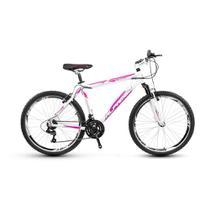 Bicicleta Alfameq Stroll Aro 26 Vbrake 21 Marchas Branca Com Rosa -