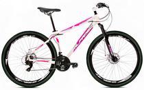 Bicicleta Alfameq Stroll Aro 29 Freio À Disco 24 Marchas Branca Com Rosa -