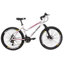 Bicicleta Alumínio Athenas Aro 26 21V Duplo Freio a Disco e Câmbio Shimano - Branca - Dalannio Bike