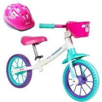Bicicleta Aro 12 Balance Bike de Equilíbrio sem Pedal Feminina Cecizinha Caloi com Capacete -
