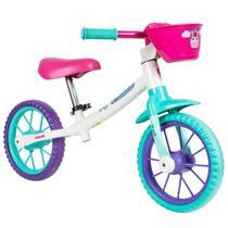 Bicicleta Aro 12 Balance Bike de Equilíbrio sem Pedal Feminina Cecizinha Caloi -