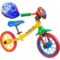 Bicicleta Aro 12 Balance Bike de Equilíbrio sem Pedal Meninos Zigbim Caloi com Capacete -